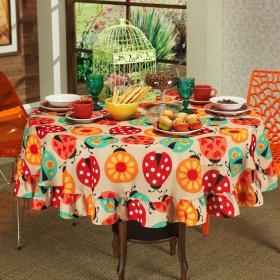 Toalha de Mesa Redonda 160cm - Joaninha Vermelho - Dui Design