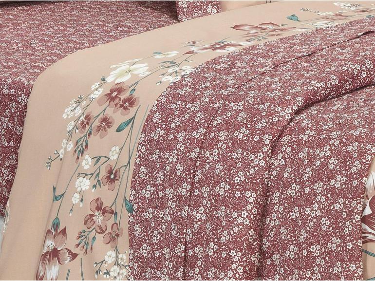 Jogo de Cama Queen Cetim de Algodão 250 fios - Joice Rosa Velho - Dui Design