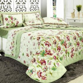 Kit: 1 Cobre-leito Casal + 2 Porta-travesseiros Percal 200 fios - Juliana Verde - Dui Design