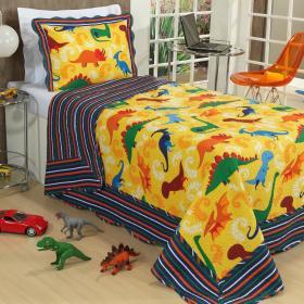 Kit: 1 Cobre-leito Solteiro Kids Bouti de Microfibra PatchWork Ultrasonic + 1 Porta-travesseiro - Jurassic Amarelo - Dui Design