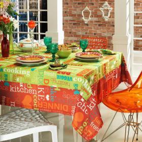 Toalha de Mesa com Barra Aplicada Retangular 6 Lugares 160x220cm - Kitchen Multicor - Dui Design