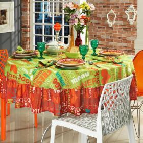 Toalha de Mesa com Barra Aplicada Redonda 180cm - Kitchen Multicor - Dui Design