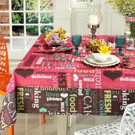 Toalha de Mesa com Barra Aplicada Retangular 6 Lugares 160x220cm - Kitchen Pink - Dui Design