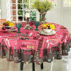 Toalha de Mesa com Barra Aplicada Redonda 180cm - Kitchen Pink - Dui Design
