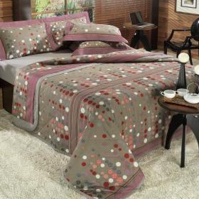 Kit: 1 Cobre-leito Casal + 2 Porta-travesseiros Percal 180 fios - Kobe Stone - Dui Design