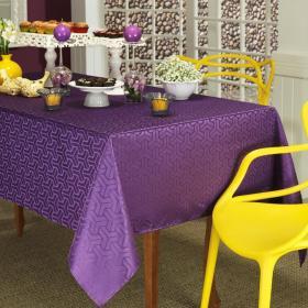 Toalha de Mesa F�cil de Limpar Quadrada 4 Lugares 160x160cm - Kube Purpura - Dui Design