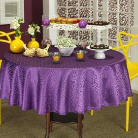 Toalha de Mesa F�cil de Limpar Redonda 160cm - Kube Purpura - Dui Design