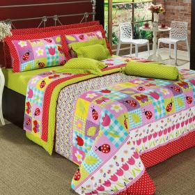 Edredom King Percal 180 fios - Lady Bug Multicor - Dui Design