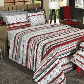 Kit: 1 Cobre-leito Casal + 2 Portas-travesseiro 150 fios - Led Cinza - Dui Design