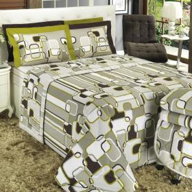 Kit: 1 Cobre-leito Solteiro + 1 Porta-travesseiro 150 fios - Lenon Bege - Dui Design
