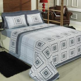 Kit: 1 Cobre-leito Solteiro + 1 Porta-travesseiro Percal 200 fios - Leroy - Dui Design