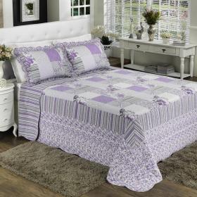 Kit: 1 Cobre-leito Queen Bouti de Algod�o PatchWork + 2 Porta-travesseiros - Liliane Lil�s - Dui Design
