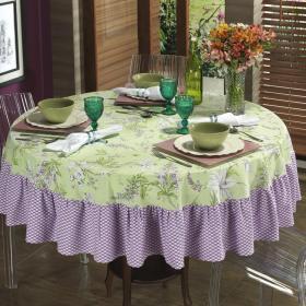 Toalha de Mesa com Barra Aplicada Redonda 180cm - Lily Lil�s - Dui Design