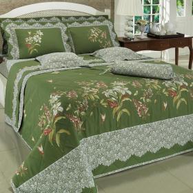 Enxoval Casal com Cobre-leito 7 pe�as Percal 200 fios - Lily Verde - Dui Design