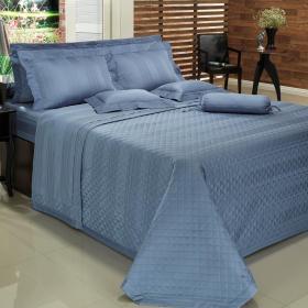 Enxoval Casal com Cobre-leito 7 pe�as Cetim 300 fios - Lima Azul Indigo - Dui Design