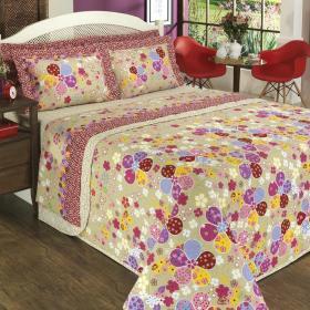 Kit: 1 Cobre-leito Queen + 2 Portas-travesseiro 150 fios - Lindinha Bege - Dui Design