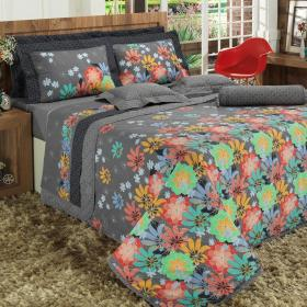 Kit: 1 Cobre-leito Solteiro + 1 Porta-travesseiro 150 fios - Lisandra Grafite - Dui Design