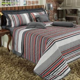 Kit: 1 Cobre-leito Queen + 2 Portas-travesseiro 150 fios - Livorno Cinza - Dui Design