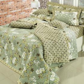 Kit: 1 Cobre-leito Casal + 2 Porta-travesseiros Percal 200 fios - Liza Verde - Dui Design