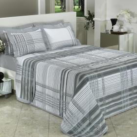 Kit: 1 Cobre-leito Casal + 2 Porta-travesseiros Percal 200 fios - London - Dui Design