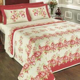 Kit: 1 Cobre-leito Solteiro + 1 Porta-travesseiro 150 fios - Lorem Vermelho - Dui Design