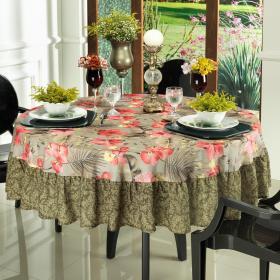 Toalha de Mesa com Barra Aplicada Redonda 180cm - Luana Rosa - Dui Design