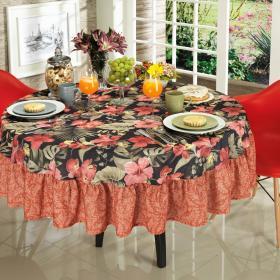Toalha de Mesa com Barra Aplicada Redonda 180cm - Luana Vermelho - Dui Design