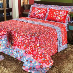 Kit: 1 Cobre-leito Solteiro + 1 Porta-travesseiro 150 fios - L�cia Vermelho - Dui Design