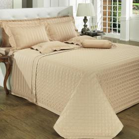 Kit: 1 Cobre-leito King + 2 porta-travesseiros Cetim 500 fios - Luxemburgo Nude - Dui Design