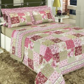 Enxoval Queen com Cobre-leito 7 pe�as Percal 200 fios - Lyana Rosa - Dui Design