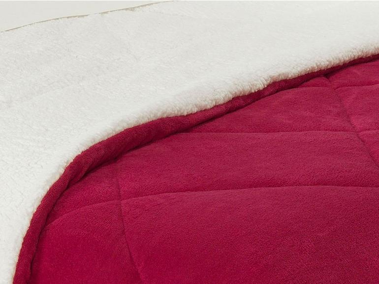 Edredom Casal Pele de Carneiro e Plush - Sherpa Madrid Cereja - Dui Design