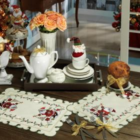 Jogo Americano Natal 4 Lugares (4 pe�as) com Bordado Richelieu 35x50cm - Magia - Dui Design