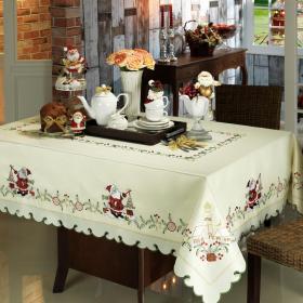 Toalha de Mesa Natal com Bordado Richelieu Retangular 6 Lugares 160x220cm - Magia - Dui Design