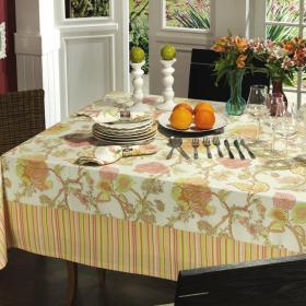 Toalha de Mesa com Barra Aplicada Retangular 6 Lugares 160x220cm - Magiore Vermelho Rosado - Dui Design