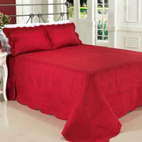Kit: 1 Cobre-leito King Bouti Bordada de Microfibra + 2 Porta-travesseiros - Malta Vermelho - Dui Design