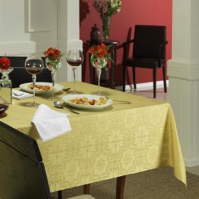 Toalha de Mesa F�cil de Limpar Retangular 8 Lugares 160x270cm - Mandalay Dourado - Dui Design