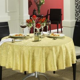 Toalha de Mesa F�cil de Limpar Redonda 160cm - Mandalay Dourado - Dui Design