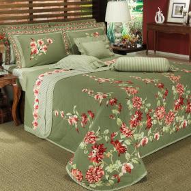 Kit: 1 Cobre-leito Solteiro + 1 Porta-travesseiro Percal 180 fios - Manila Verde - Dui Design