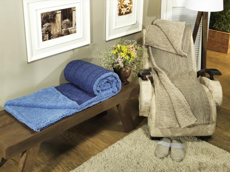 Manta de sof tricot e com efeito pele de carneiro terni - Cobertor para sofa ...