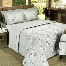 Kit: 1 Cobre-leito Solteiro + 1 Porta-travesseiro Percal 200 fios - Marceline Caqui - Dui Design