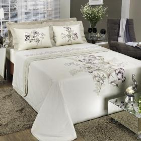 Kit: 1 Cobre-leito Casal + 2 porta-travesseiros Percal 200 fios - Marguerithe - Dui Design
