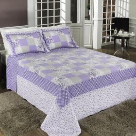 Kit: 1 Cobre-leito Queen Bouti de Algod�o PatchWork + 2 Porta-travesseiros - Marianna Lil�s - Dui Design
