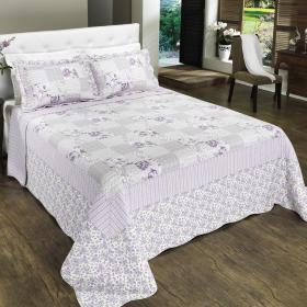 Kit: 1 Cobre-leito Queen Bouti de Algod�o PatchWork + 2 Porta-travesseiros - Marisa P�rpura - Dui Design