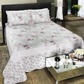 Kit: 1 Cobre-leito Queen Bouti de Algod�o PatchWork + 2 Porta-travesseiros - Marisa Rosa - Dui Design
