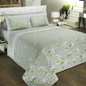 Kit: 1 Cobre-leito Solteiro + 1 Porta-travesseiro Percal 200 fios - Marjorie Verde - Dui Design