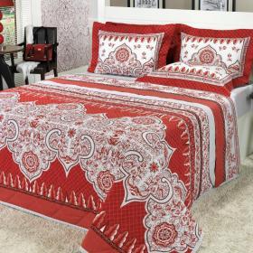 Kit: 1 Cobre-leito Casal + 2 Porta-travesseiros 150 fios - Marrocos Vermelho - Dui Design