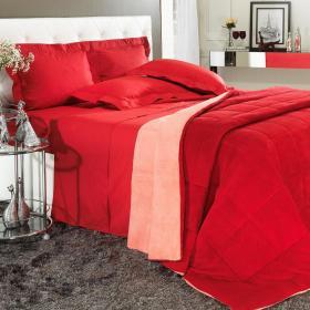 Edredom Plush Casal  - Maxy Vermelho Coral - Dui Design