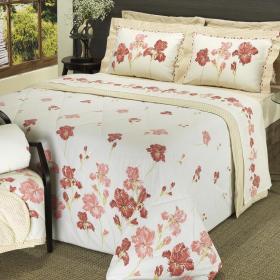 Kit: 1 Cobre-leito Queen + 2 Portas-travesseiro 150 fios - Maysa Vermelho - Dui Design