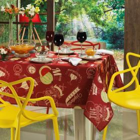 Toalha de Mesa Quadrada 4 lugares 140x140cm - Menu Vermelho - Dui Design