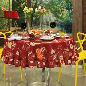 Toalha de Mesa Redonda 160cm - Menu Vermelho - Dui Design